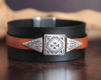 New Wide Leather Bracelet Mens Bracelet Western Native American Mens Leather Jewelry Leather Gift For Him Silver Jewelry Gift Under 60
