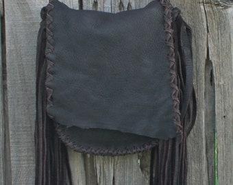 Brown leather handbag with fringe , Crossbody bag , Handmade leather handbag , Boho gypsy handbag