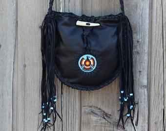 Black leather beaded tote, beaded thunderbird tote, handmade leather tote, tote handbag, unique handmade bags