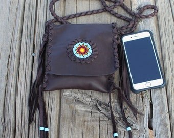 Beaded crossbody phone bag, beaded sunflower bag, brown leather handbag, small leather handbag, festival bag