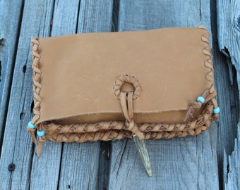 Tan leather clutch, wallet style bag, simple handbag, handmade leather clutch, multi purpose bag, large leather clutch