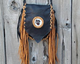 Fringed leather handbag, ready to ship, beaded bear paw, bear paw handbag, leather handbag, small size handbag, phone bag