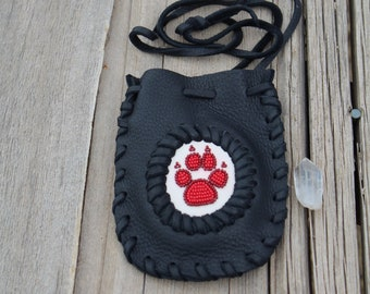 Wolf paw medicine bag, leather medicine bag, beaded wolf paw, amulet bag, crystal pouch