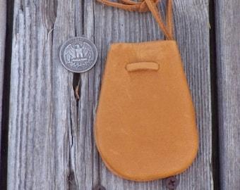 Leather medicine bag ,  Leather necklace bag, Leather crystal bag, Drawstring neck bag . Leather neck pouch