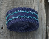 Purple leather cuff , Beaded cuff