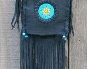 Black fringed handbag , Black leather handbag with a beaded sunburst , Leather bag Beaded flower , Black leather