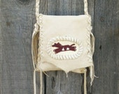 Leather crossbody bag with beaded horse ,  Buckskin medicine bag ,  Leather crossbody phone bag