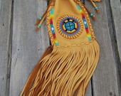 Deadhead rainbow bag , hippie bag ,  fringed drawstring shoulder bag with a turtle totem and rainbow beadwork