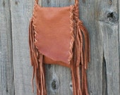 Small leather purse , Small leather phone bag , Fringed leather handbag , Crossbody leather bag