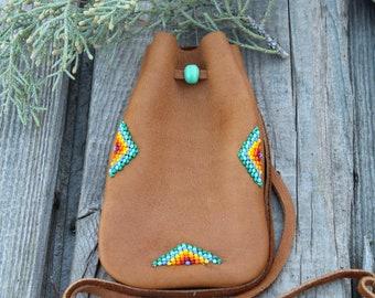 beaded medicine bag, necklace bag, mojo bag, buckskin amulet pouch