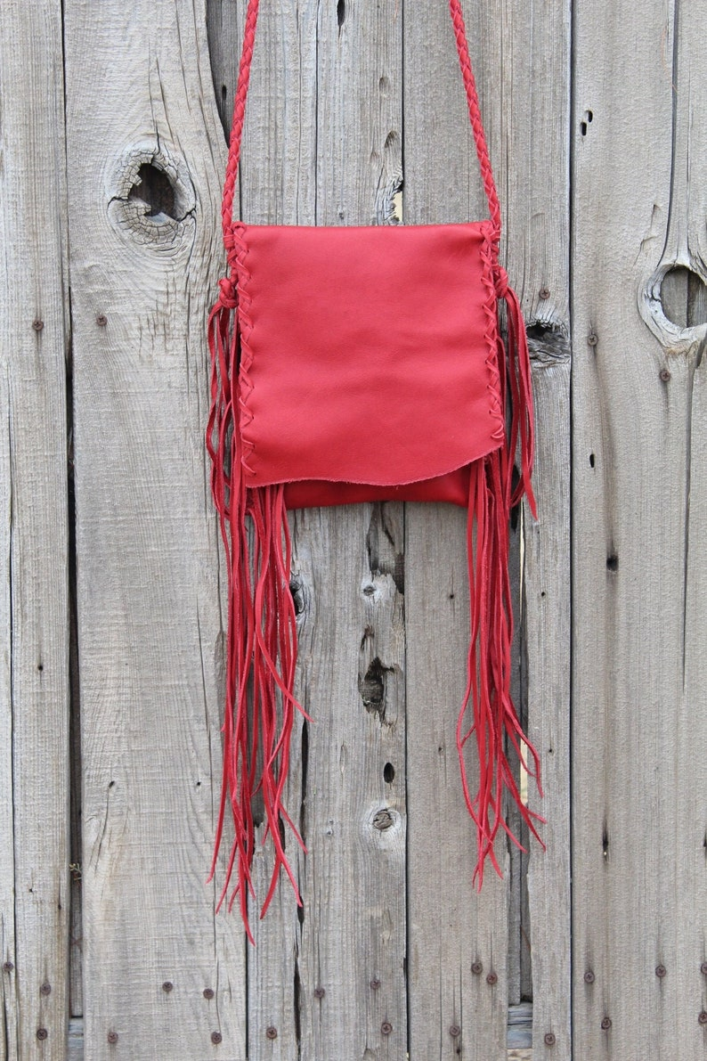Red leather purse  Crossbody handbag with fringe  Simple red image 0