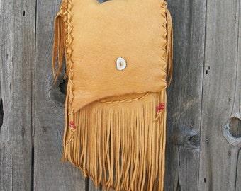 Fringed  leather bag ,  Handmade  purse , Leather crossbody handbag , Leather handbag