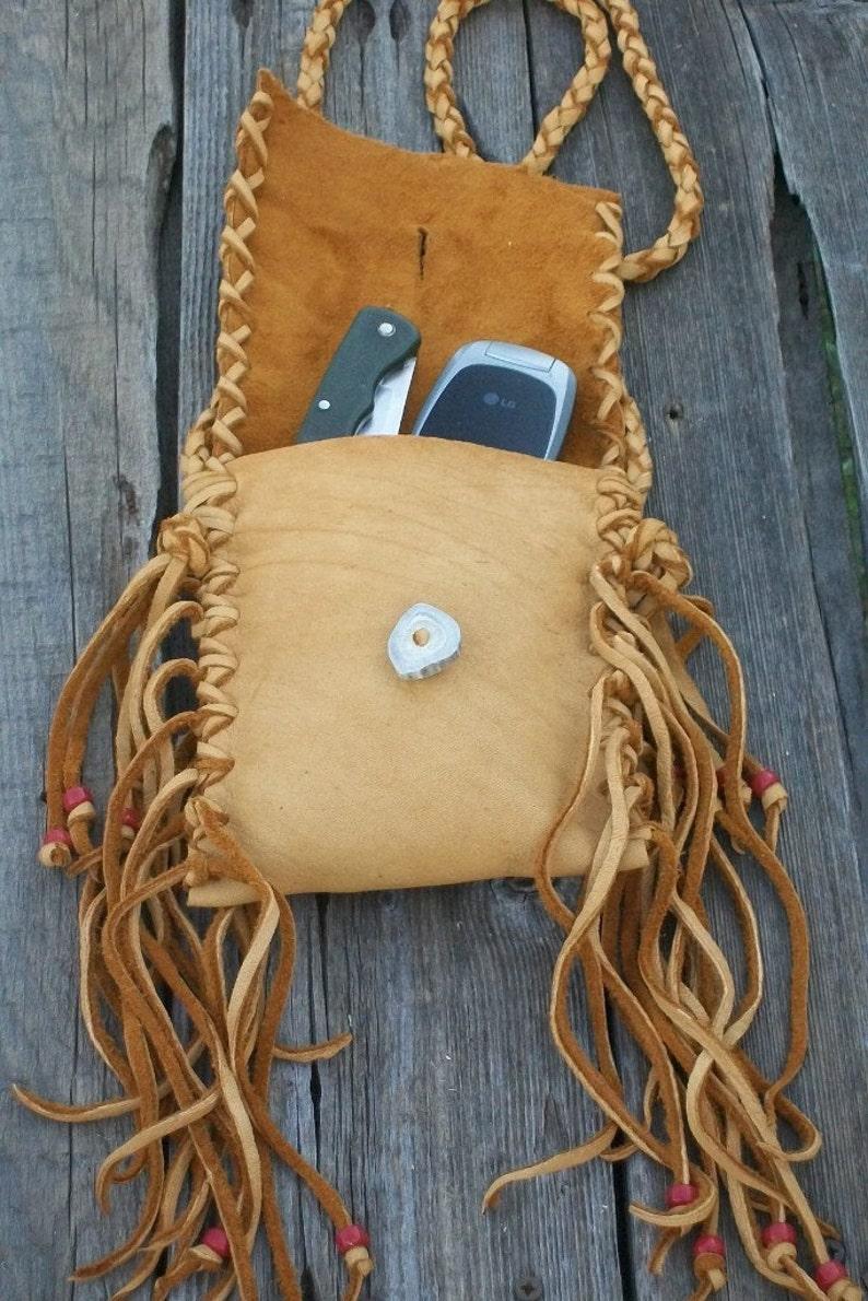Fringed leather handbag Phone bag Crossbody bag Fringed waist bag