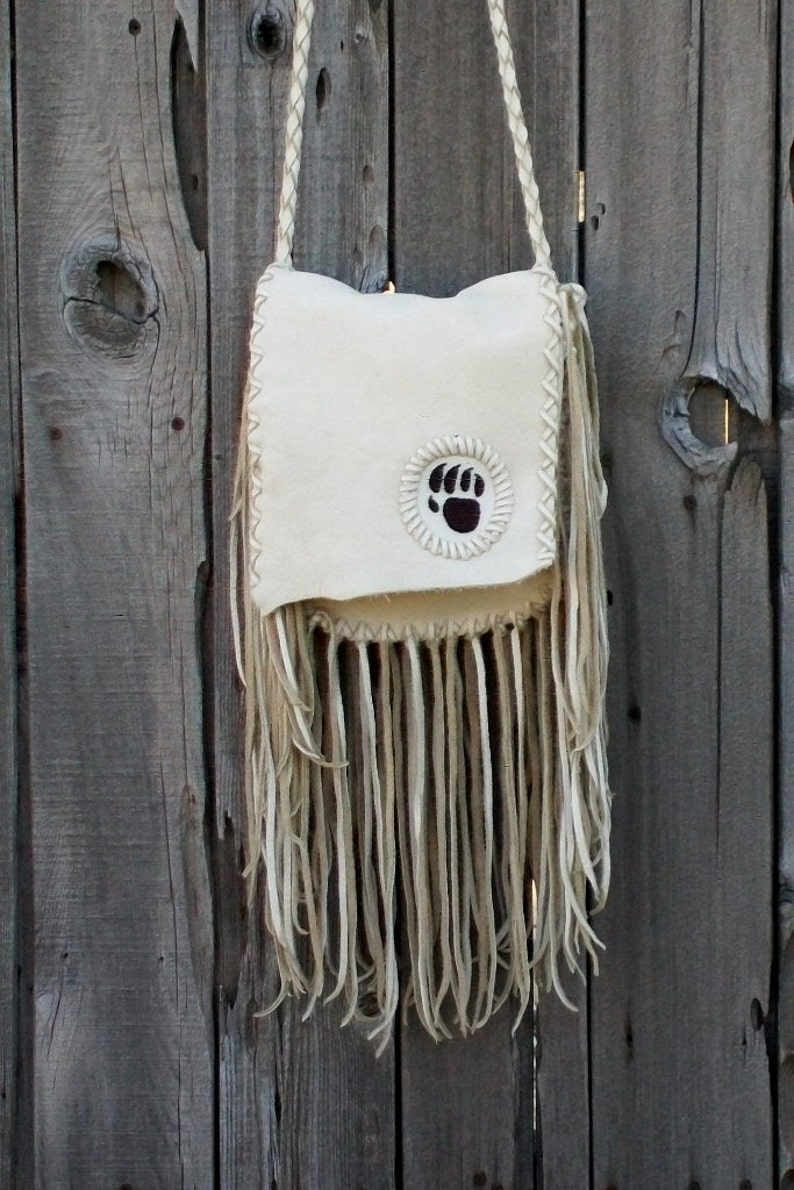 74f1eb99895f Beaded leather handbag with fringe and bear totem Handmade