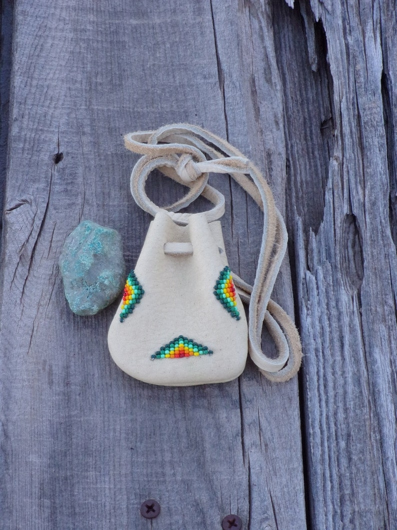Beaded leather medicine bag   Small beaded pouch  Beaded image 0