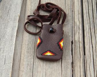 A beaded medicine bag, four directions beadwork, small amulet bag, necklace bag, beaded neck bag