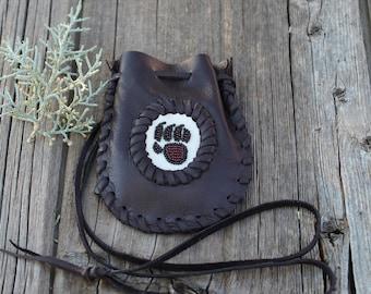 Beaded bear paw medicine bag, leather medicine bag, necklace bag, bear talisman bag, bear totem pouch , leather pouch, medicine bag