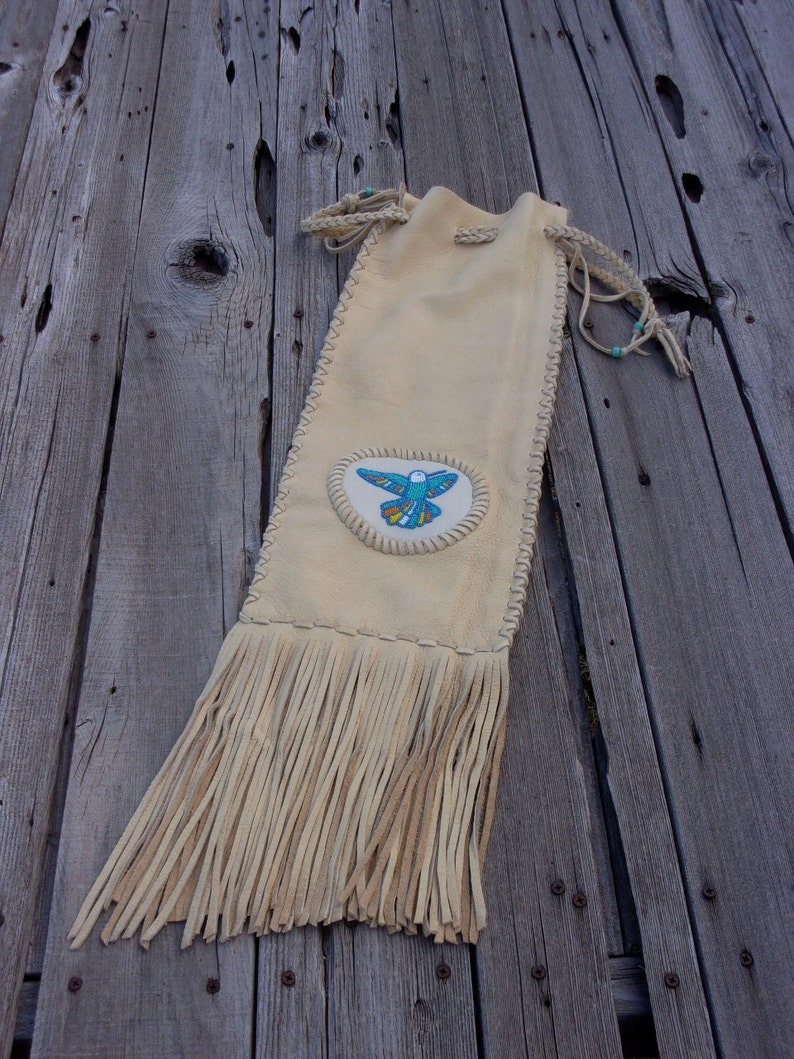 Pipe bag beaded hummingbird pipe bag custom pipe bag image 0