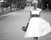 Charlotte- Custom Silk Tea-Length Wedding Dress