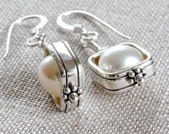 ddf181a3b White Pearl Earrings, Square Earrings, Sterling Silver Dangle Earrings,  Freshwater Pearl Jewelry for Her, Pearl Drop Earrings for Women