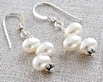White Pearl Earrings, Pearl Dangle Earrings, Freshwater Pearl Earrings, Beaded Earrings, Real Pearl Jewelry, Sterling Silver Jewelry for Her