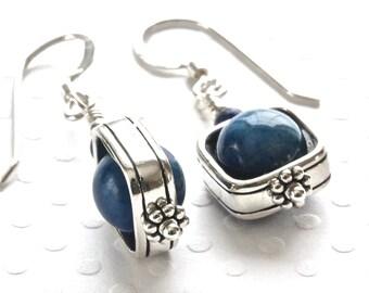 6e96e630f Lapis Earrings, Blue Drop Earrings, Sterling Silver Dangle Earrings, Blue  Stone Earrings, Birthstone Jewelry, Gemstone Jewelry for Her