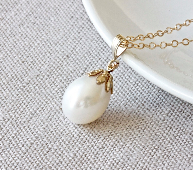 White Pearl Necklace Large Pearl Necklace Filigree Jewelry image 0