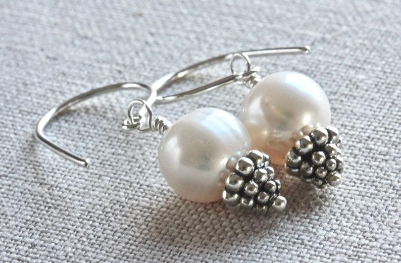 a283ce3f1 White Pearl Earrings Freshwater Pearl Earrings Pearl Drop | Etsy