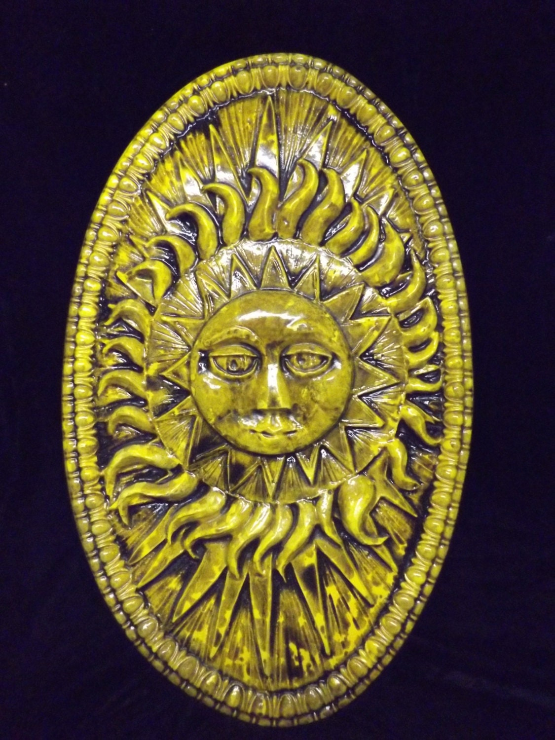 Large Sun Burst Rays Oval Wall Plaque Round Celestial   Etsy