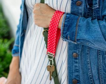 Red Polka Dot Wristlet Strap - Red Keychain Wristlet for Women - Cute Key Fob - Lanyard for Car Keys