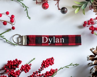 Personalized Christmas Keychain - Red Buffalo Plaid Keychain Key Fob for Holiday - Custom Modern Wristlet Strap with Name