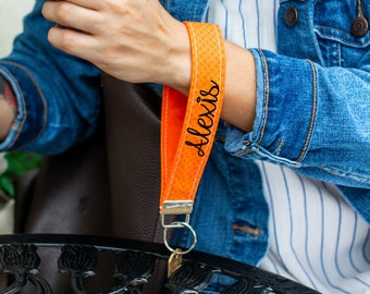 Personalized Orange Keychain Key Fob - Custom Wristlet Strap with Name or Phrase - Gift for Mom, Sister, Wife, Girlfriend