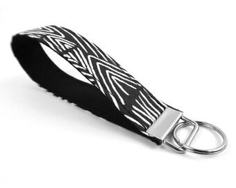 Fall Boho Key Fob - Black Mudcloth Key Chain - Mud Cloth Fabric Keyfob - Boho Lanyard for Keys - Modern Wristlet Handle - Autumn Accessory