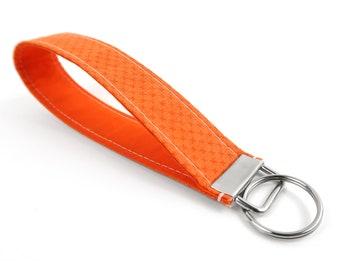 Fall Fabric Key Fob - Orange Keychain Strap - Wristlet Handle for Keys - Wrist Lanyard