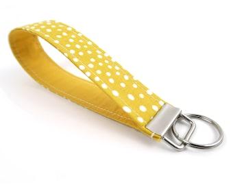 Fabric Keychain - Yellow Key Fob with Dots - Wristlet Strap for Keys - Bright Accessory - Illuminating Yellow