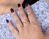 Crescent Moon Ring Set - Gold Midi Birthstone Stacking Rings