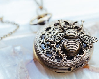 Bee Pocket Watch - Watch Necklace - Bee Pendant - Save the Bees - Bee Jewelry