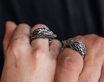Wolf Ring Couples Rings - Viking Gift For Men Women Teen-Wolf Cosplay-His and Hers Rings - Crystal Animal Ring Goth Ring