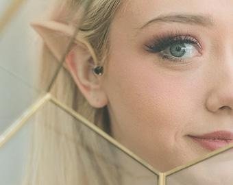 Latex Elf Ears with Gold Cuff - Elf Ear with Ear Cuff - Elf Cosplay - Fairy Costume - Elven Ear LARP