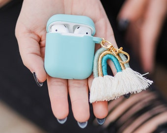 AirPods Case with Macrame Rainbow for Gen 1 and 2 - AirPods Case Keychain - AirPods Case Cute - Macrame Keychain - Silicone AirPod Case
