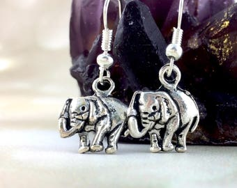 Sterling Silver Elephant Earrings - Elephant Gift For Her - Womens Elephant Jewelry - Dangle Clip On Animal Simple Cute Stocking Stuffer