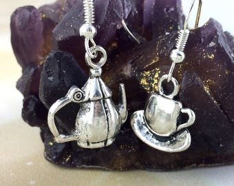 Mismatched Earring Set - Teapot Jewelry - Womens Tea Gift For Her -Coffee Tea Lover Gift Sterling Silver Dangle Drop Teacup Jewelry