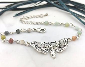 Beaded Gemstone Moth Bracelet - Death Head Moth - Labradorite Amazonite Bracelet - Wiccan Esoteric Jewelry