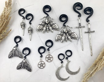Gothic Ear Weights - Creepy Gothic Jewelry - Ear Tunnels - Dangle Plugs