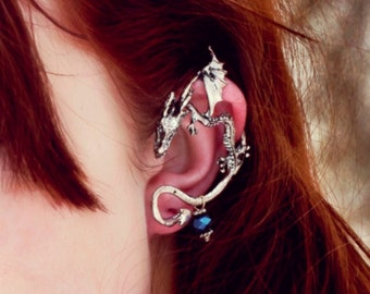 2d289b3d6 Gold or Silver Dragon Ear Cuff Earring Dragon Earring Dragon Earcuff Silver Ear  Wrap Earring Ear Jewelry Ear Climber Fantasy Gift