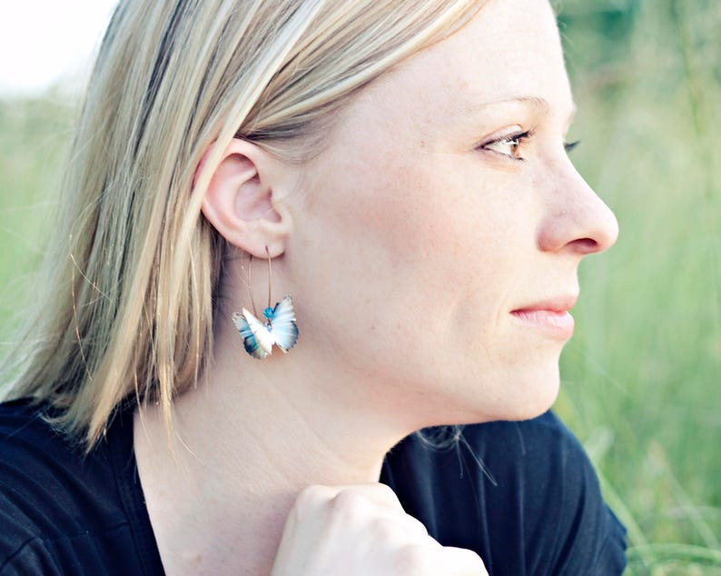 Almost Real Butterfly Earrings Paper Butterfly Jewelry Teal image 0
