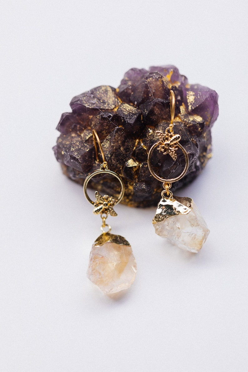 Honey Bee Citrine Earrings  Nature Jewelry Queen Bee Save The image 0