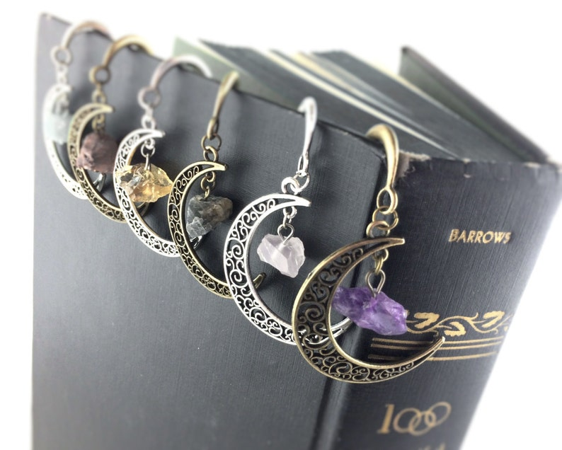 Book Lover Gift Idea  Moon Bookmark  Gemstone Bookmarks  image 0