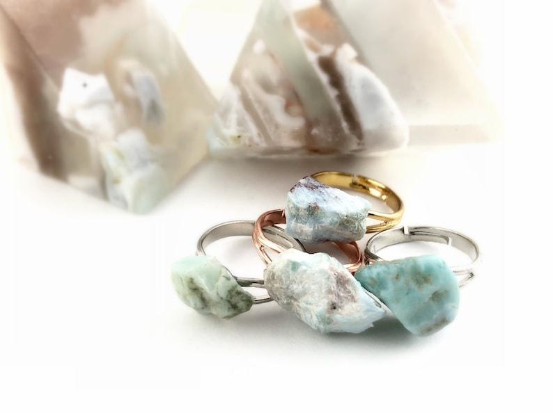 Rough Stone Ring  Larimar Ring Gold Silver Rose Gold image 0