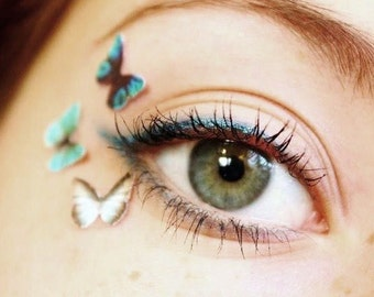 Tiny Temporary Tattoo Makeup - Teen Girl Gift - Temp Blue Eyeshadow Makeup Butterfly Eye Decals - Festival Makeup - Unique Stocking Stuffer